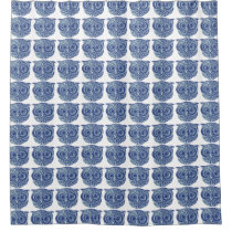 blue owl cute shower curtain