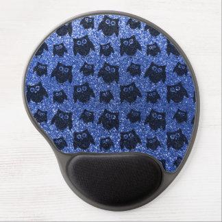 Blue owl glitter pattern gel mouse mats