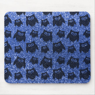 Blue owl glitter pattern mouse pad
