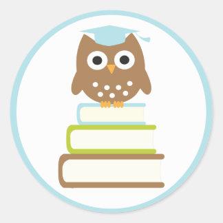 Blue Owl Graduation Envelope Seals Classic Round Sticker