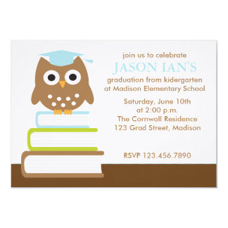 Blue Owl Graduation Party Invitations
