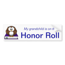 Blue Owl Grandchild Honor Roll Bumper Sticker