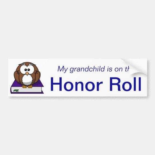 Blue owl grandchild honor roll bumper sticker