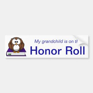 Blue Owl Grandchild Honor Roll Bumper Sticker Car Bumper Sticker