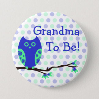 """Blue Owl """"Grandma To Be"""" Baby Shower Button"""