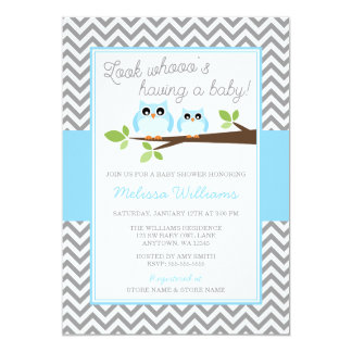 Blue Owl Gray Chevron Boy Baby Shower Card