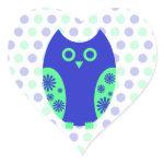 Blue Owl Heart Stickers or Envelope Seals zazzle_sticker