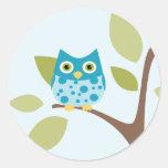 Blue Owl in a Tree Classic Round Sticker