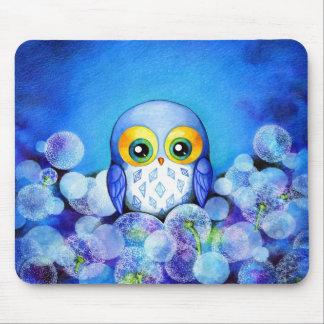 Blue Owl in Dandelion Field Mouse Pad