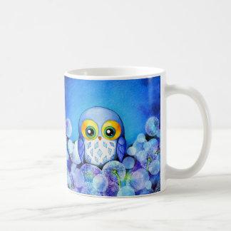 Blue Owl in Dandelion Field Mug