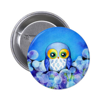 Blue Owl in Dandelion Field Pinback Button