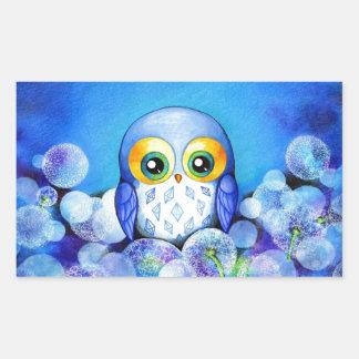 Blue Owl in Dandelion Field Rectangular Sticker