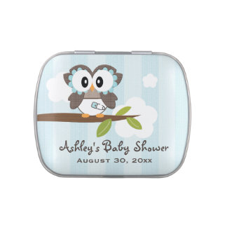 Blue Owl in Diapers Baby Shower Favor Jelly Belly Candy Tins