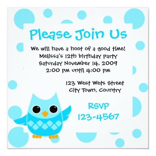 Blue Owl Invitations
