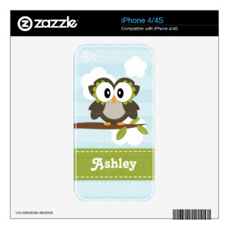 Blue Owl iPhone 4 / 4s Skin Decals For The iPhone 4S