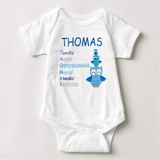 Blue Owl Kids Boy Baby t-shirt Name Personalized