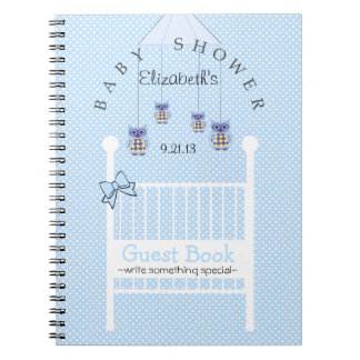 Blue Owl Mobile Baby Shower Guest Book- Note Books