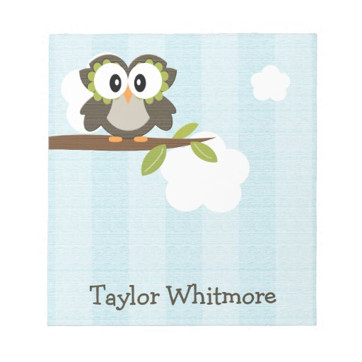 Blue Owl Notepad Personalized