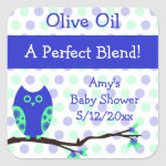 Blue Owl Olive Oil Personalized Favor Labels zazzle_sticker