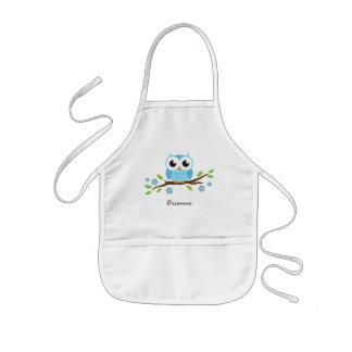 Blue owl on branch with flowers personalized name kids' apron