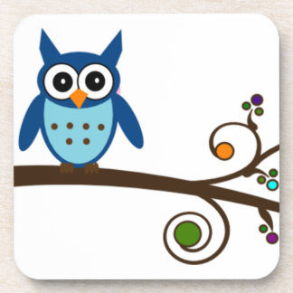 Blue Owl on Colorful Branch Coaster