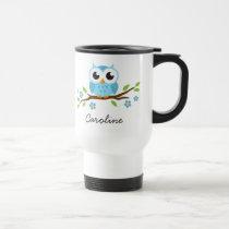 Blue owl on flowering branch customizable name travel mug