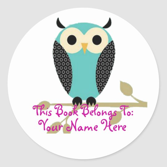 Blue Owl On Limb Name Tag