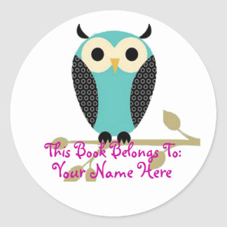Blue Owl On Limb Name Tag Classic Round Sticker