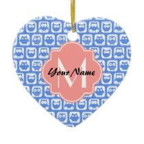 Blue Owl Pattern Coral Monogram Personalized Name Ceramic Ornament