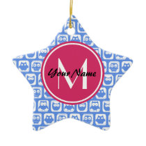 Blue Owl Pattern Pink Custom Monogram Personalized Ceramic Ornament