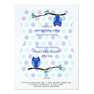 Blue Owl Personalized Baby Shower Pillow Favor Box Custom Invites