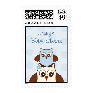 Blue Owl Polka Dots Custom Postage Stamps