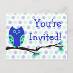 Blue Owl Postcard Baby Shower Invitations zazzle_postcard