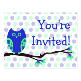 Blue Owl Postcard Baby Shower Invitations