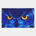 BLUE OWL RECTANGULAR STICKER