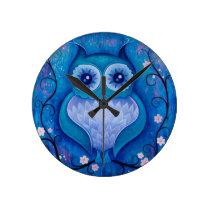 blue owl round clock
