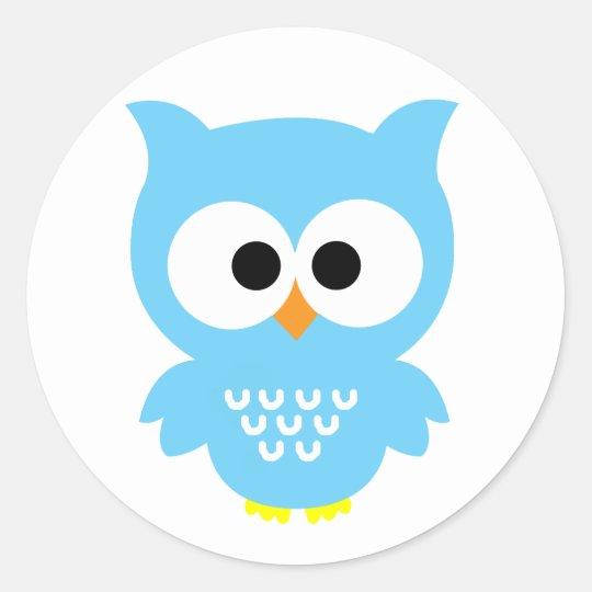 Blue owl stickers classic round sticker