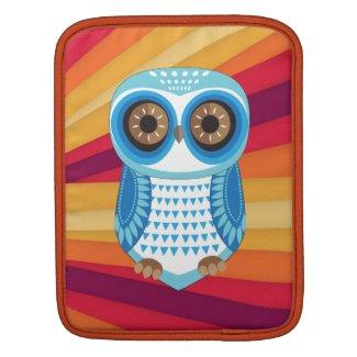 Blue Owl Stripe Red Background iPad Sleeve