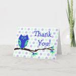 Blue Owl Thank You Card zazzle_card