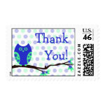 Blue Owl Thank You Postage zazzle_stamp