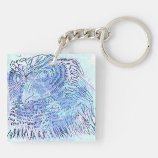 Blue Owl watercolour Keychain