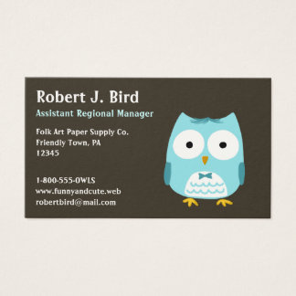 Blue Owl Wearing a Bow Tie Business Card
