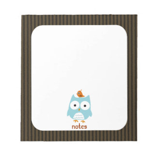 Blue Owl with Little Orange Bird Memo Notepad