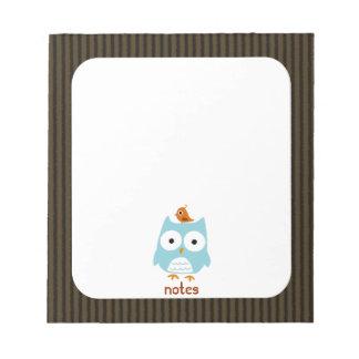 Blue Owl with Little Orange Bird Notepad