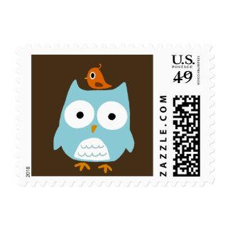 Blue Owl with Little Orange Bird Postage Stamp