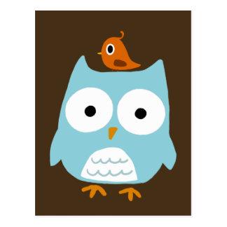 Blue Owl with Little Orange Bird Postcard