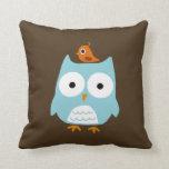 Blue Owl with Little Orange Bird Throw Pillow