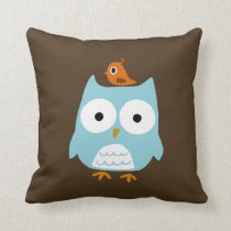 Blue Owl with Little Orange Bird Throw Pillow