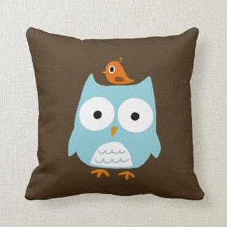 Blue Owl with Little Orange Bird Throw Pillows