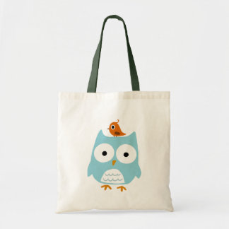 Blue Owl with Little Orange Bird Tote Bag